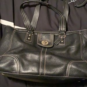 Coach black leather pocket book - gently used